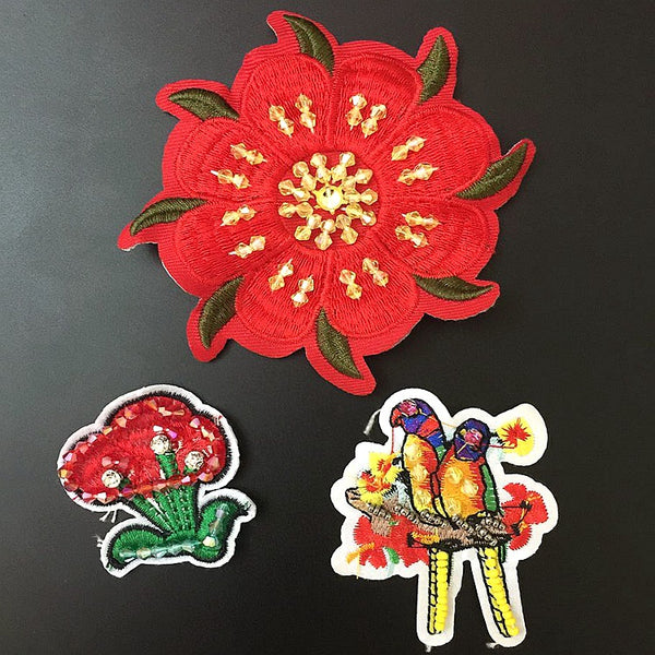Flower Flamingo Beaded Patch