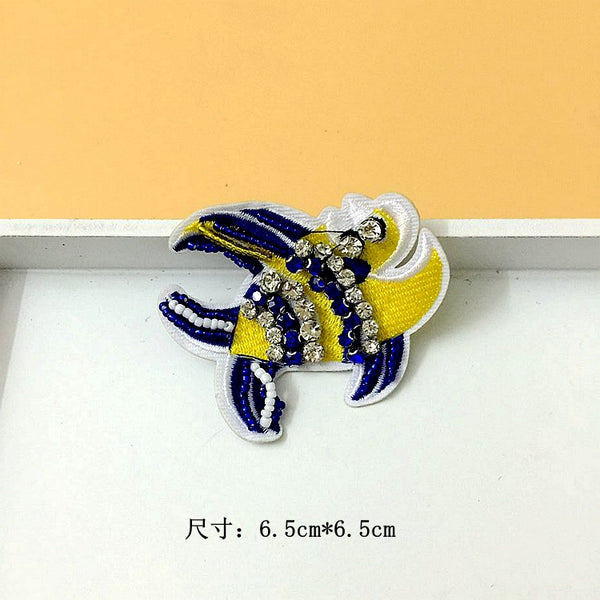Beaded Sequined Glass Shell Seahorse Cloth Sticker