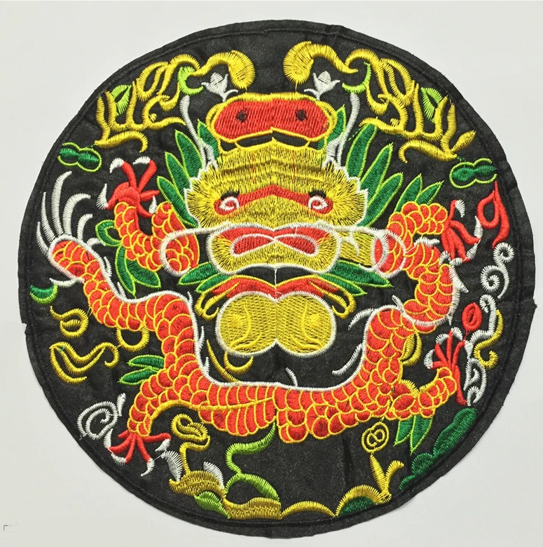 Black-bottomed Embroidered Dragon Placket Zipper Stickers