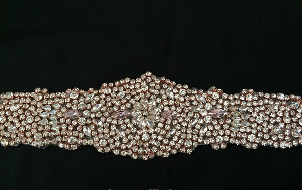 Bridal Rose Gold Rhinestone Decoration Applique