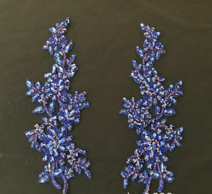 Beaded Rhinestone Applique Lace Applique Blue