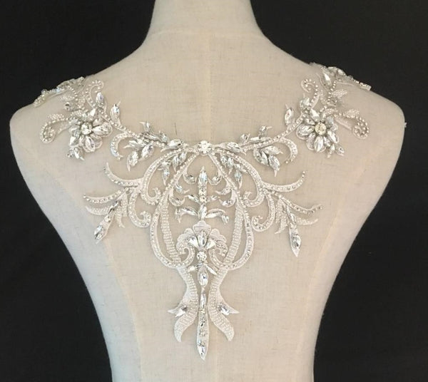 Round Neck Collar Flower Blingbling Rhinestone Decoration Lace Applique