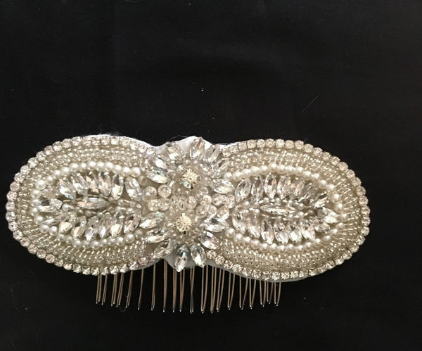 Environmental 8-shaped Beaded Rhinestone Bridal Comb