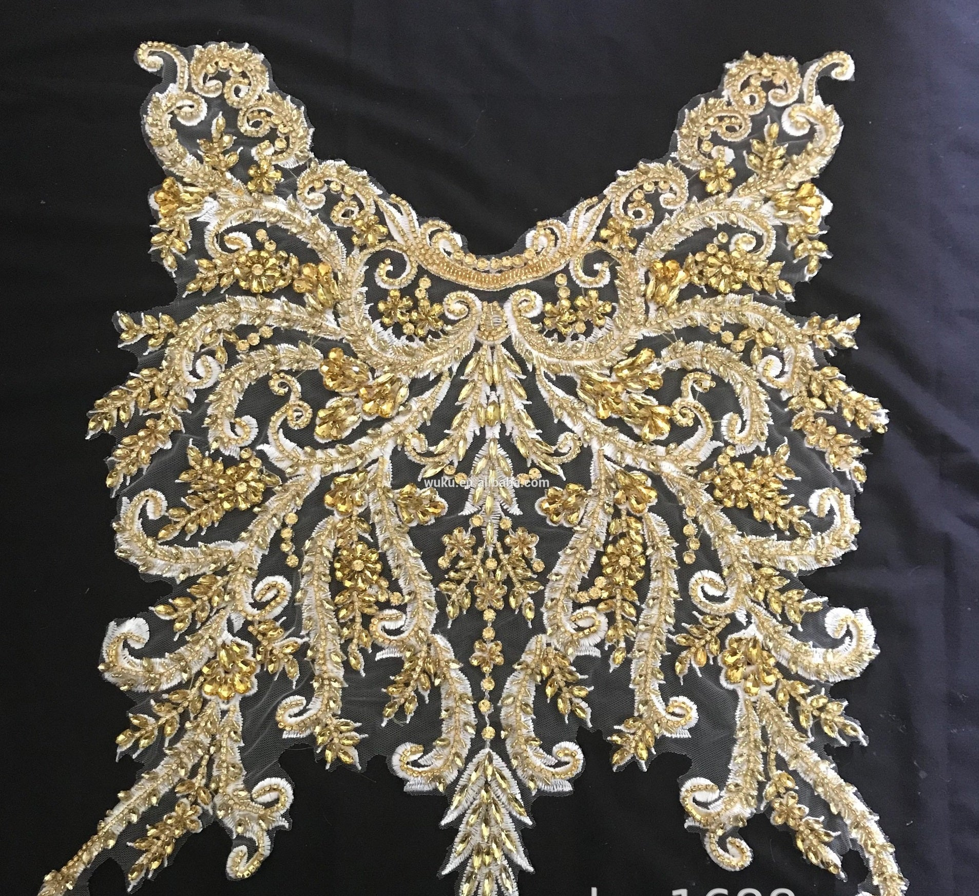 Golden Lace Rhinestone Decorative Applique