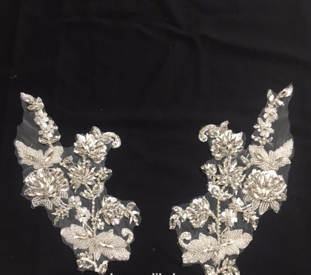Lace Applique with Rhinestones