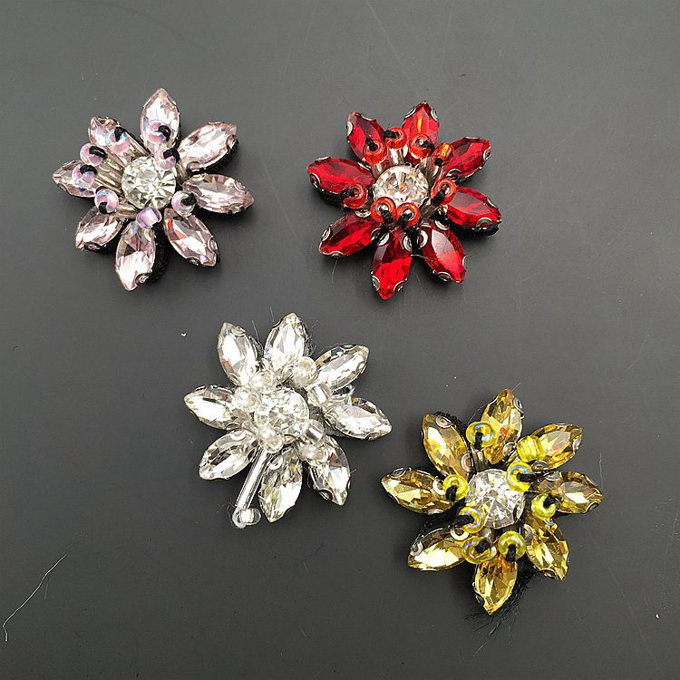Beaded Flower Crystal Sequin Crown Patch