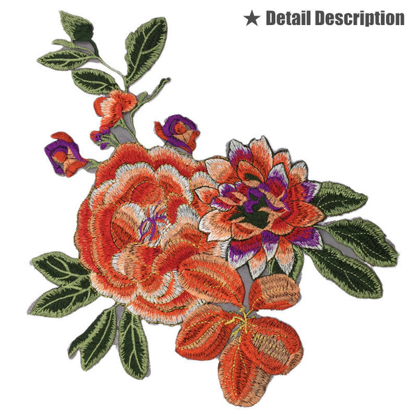Hand Embroidered Orange Flower Applique