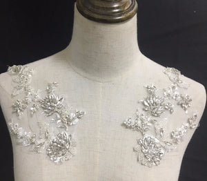 Lace Applique with White Rhinestones