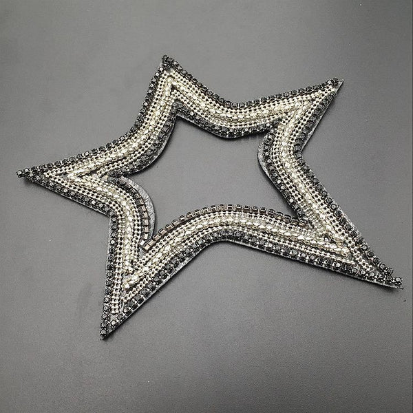 Crystal Glass Five-pointed Star Beaded Cloth Stickers