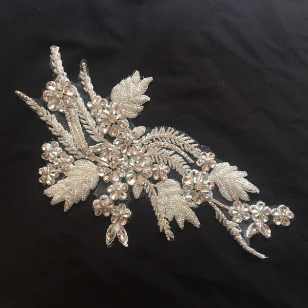 Flower Beaded Rhinestone Lace Applique