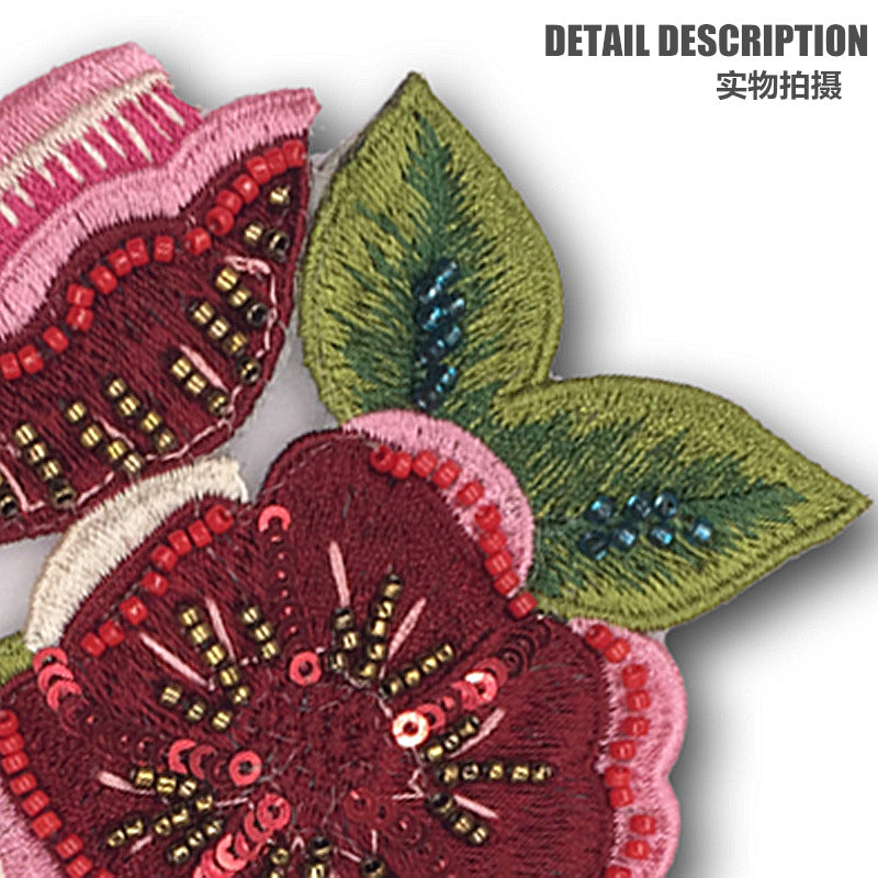 Red Sequin Embroidered Applique