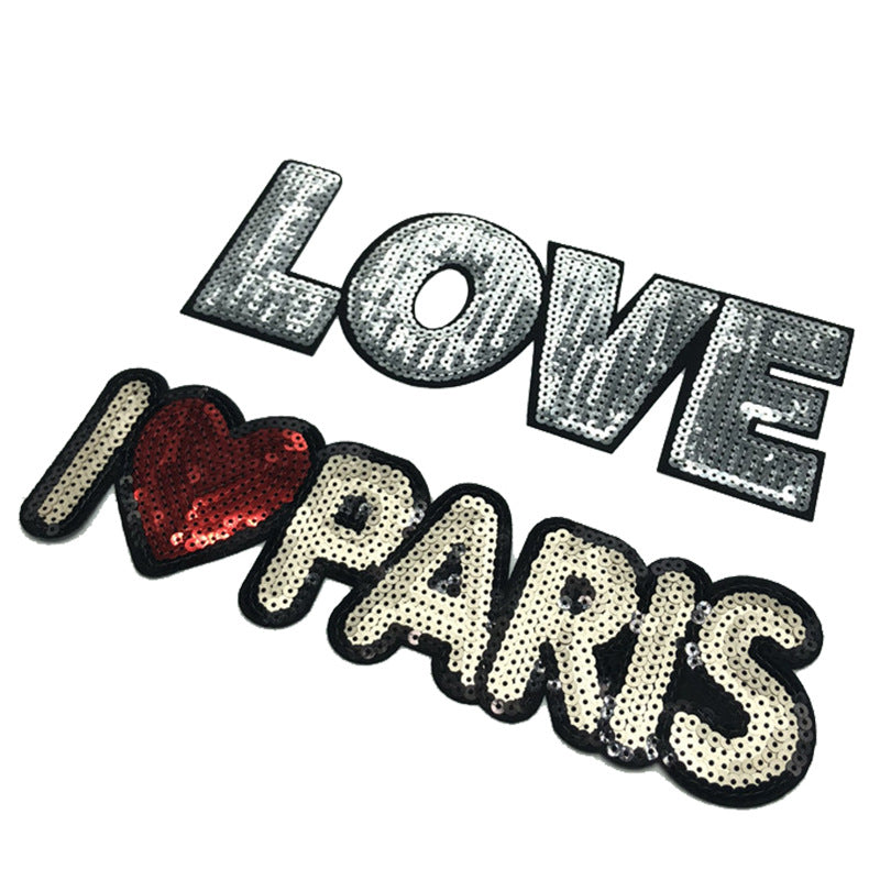Sequined Letters Embroidery Adhesive Patch