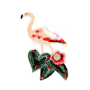 Bead Embroidery Bird Cloth Flamingo Patch