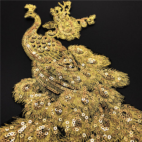 Golden Peacock Sequin Applique