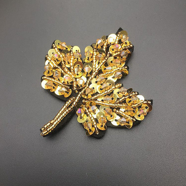 Nail Bead Cloth with Sequin Crystal Maple Leaf Patch