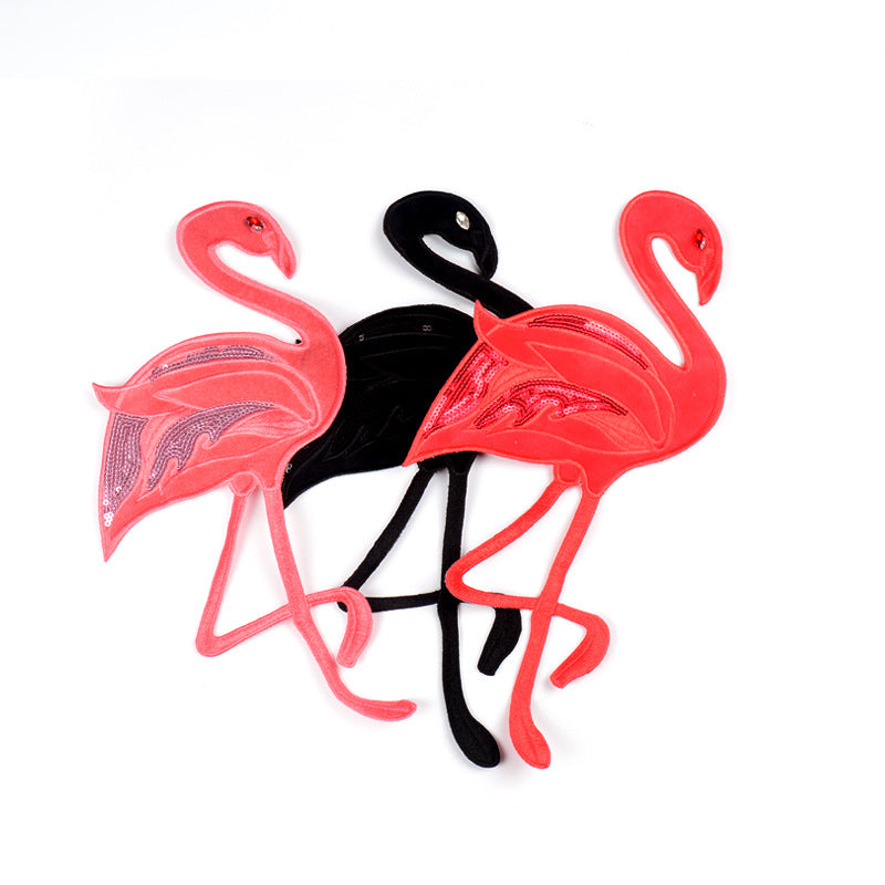 Flamingo Bead Embroidery Cloth Sticker