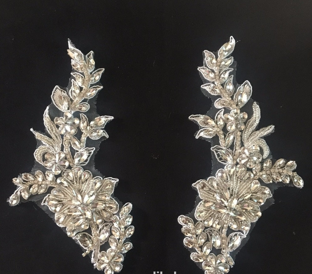Silver Beaded Rhinestones Decorative Pair Applique