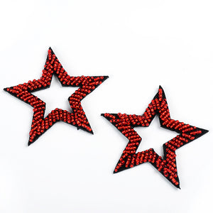 Beaded Red Five-pointed Star Patch - SUGAR FABRICS