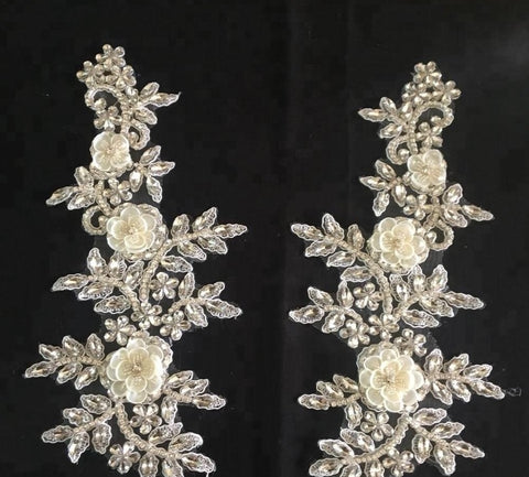 Beaded Chiffon Flower Lace Decorative Applique