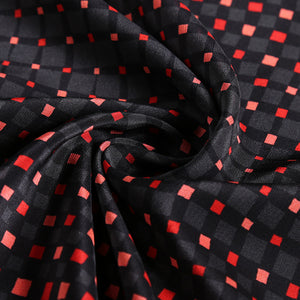 Red Square on Black Silk Crepe De Chine(14 Momme)