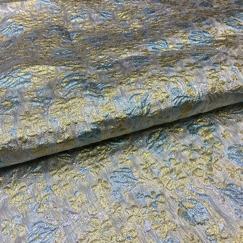 Fashion Silver Gray and Gold Luxury Brocade