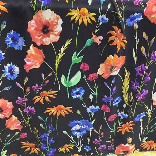 Black Colorful Flowers Silk Crepe De Chine(12 Momme)