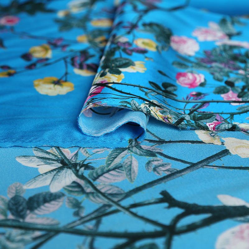 Blue Flower Digital Printing Satin Silk Charmeuse(20 Momme)