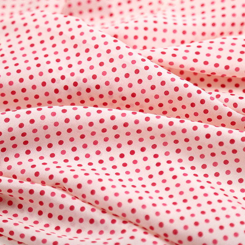 Dot Printing Silk Crepe De Chine(12 Momme)