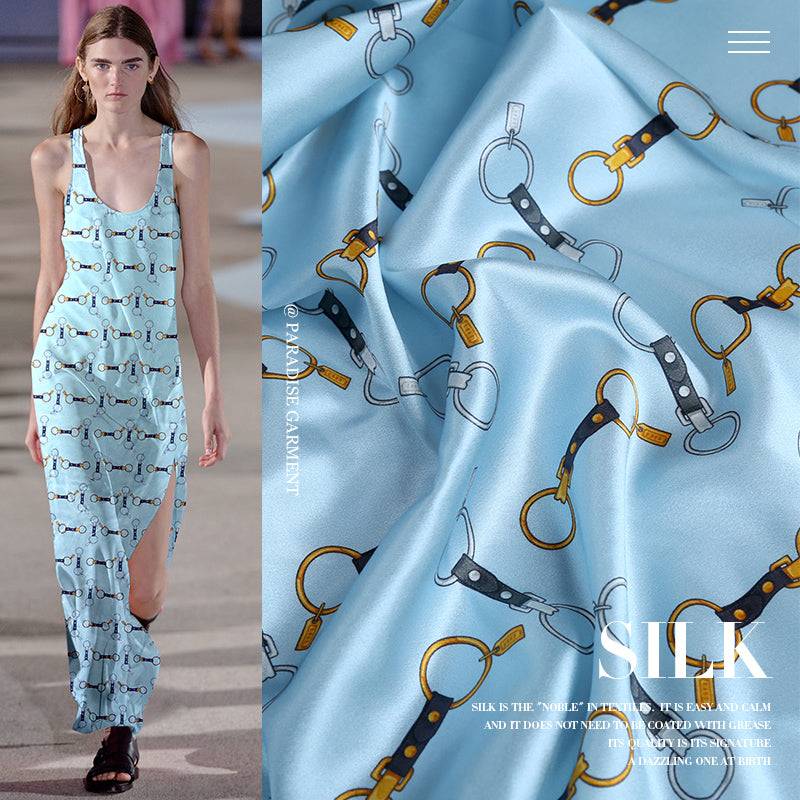 Blue Digital Printing Satin Silk Charmeuse(20 Momme)