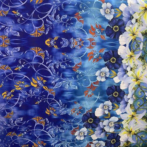 Blue Ghost Flowers Silk Crepe De Chine(16 Momme)