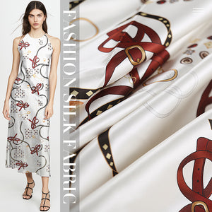 White Digital Printing Satin Silk Charmeuse(20 Momme)