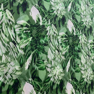 Green Print Silk Crepe De Chine(16 Momme)