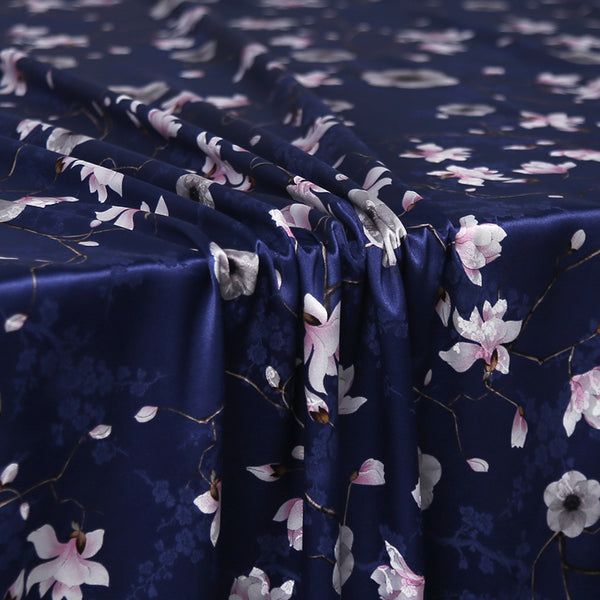 Blue Printing Satin Silk Charmeuse(22 Momme)