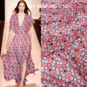 Crystal Beads Printed Silk Chiffon