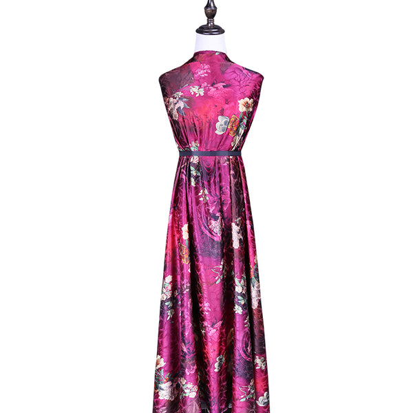 Peony Print Stretch Satin Silk Charmeuse(20 Momme)