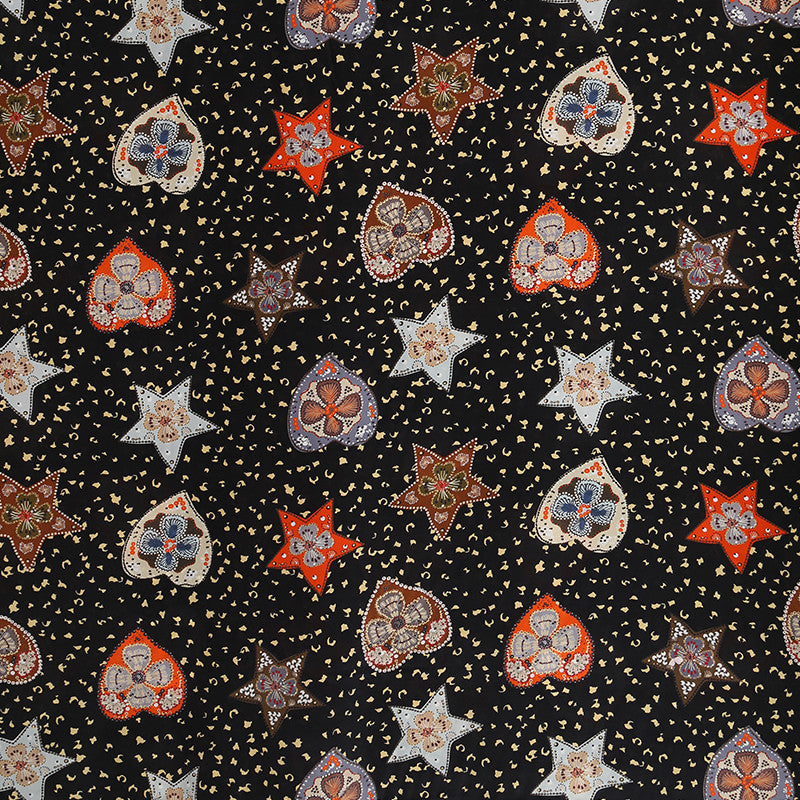Love Five-pointed Star Silk Crepe De Chine(12 Momme)