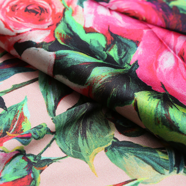 Rose Flower Digital Printing Satin Silk Charmeuse(20 Momme)