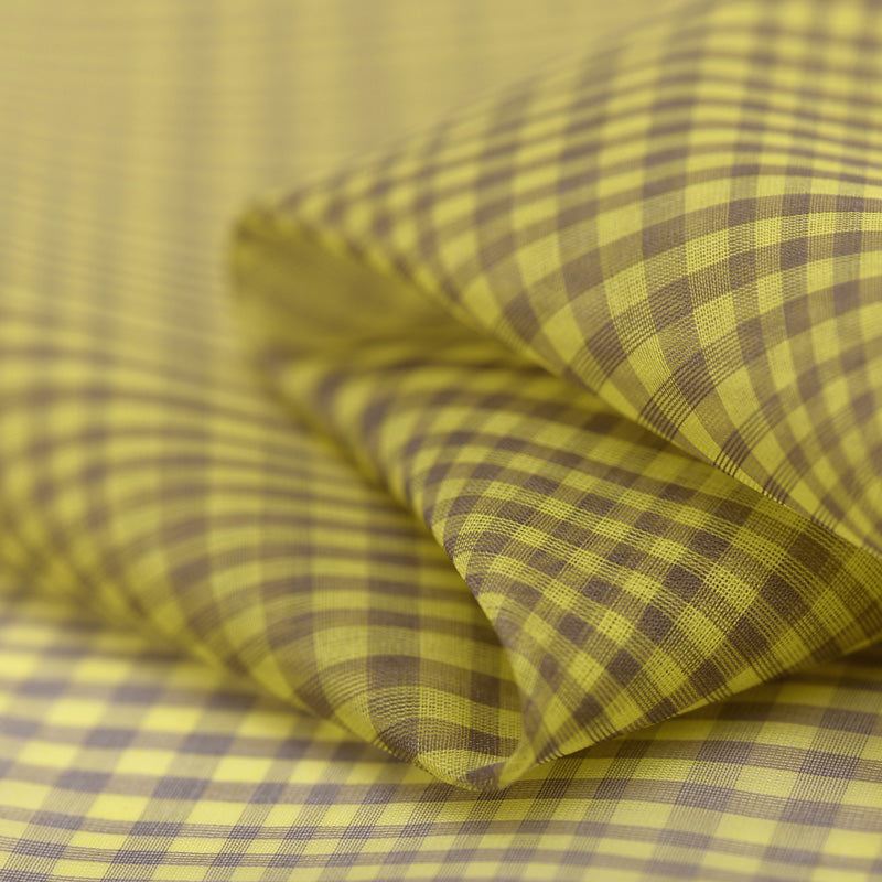 Yellow Grid Silk Organza
