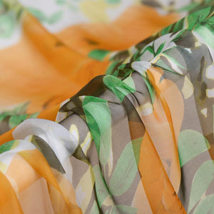 Orange Print Flower Silk Chiffon
