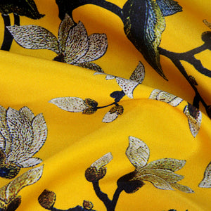 Yellow Digital Printing Satin Silk Charmeuse(20 Momme)