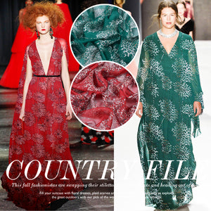 Red and Green Printed Silk Chiffon