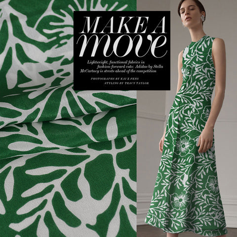 Green Flower Silk Crepe De Chine(12 Momme)
