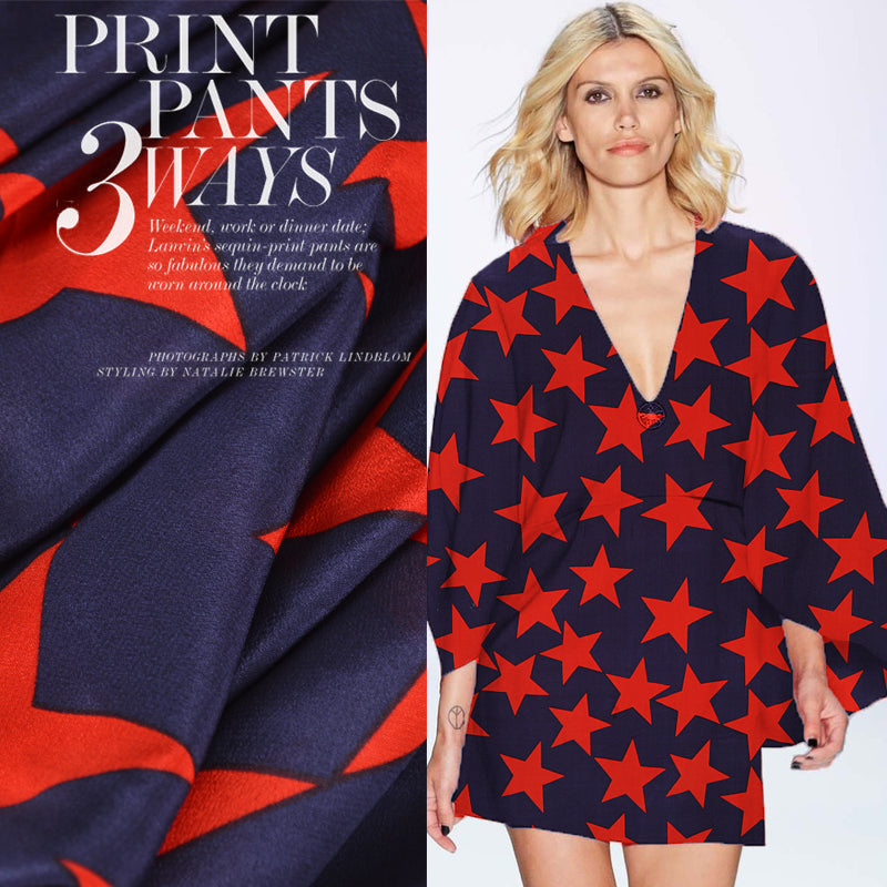 Red Five-pointed Star Print Silk Crepe De Chine(12 Momme)
