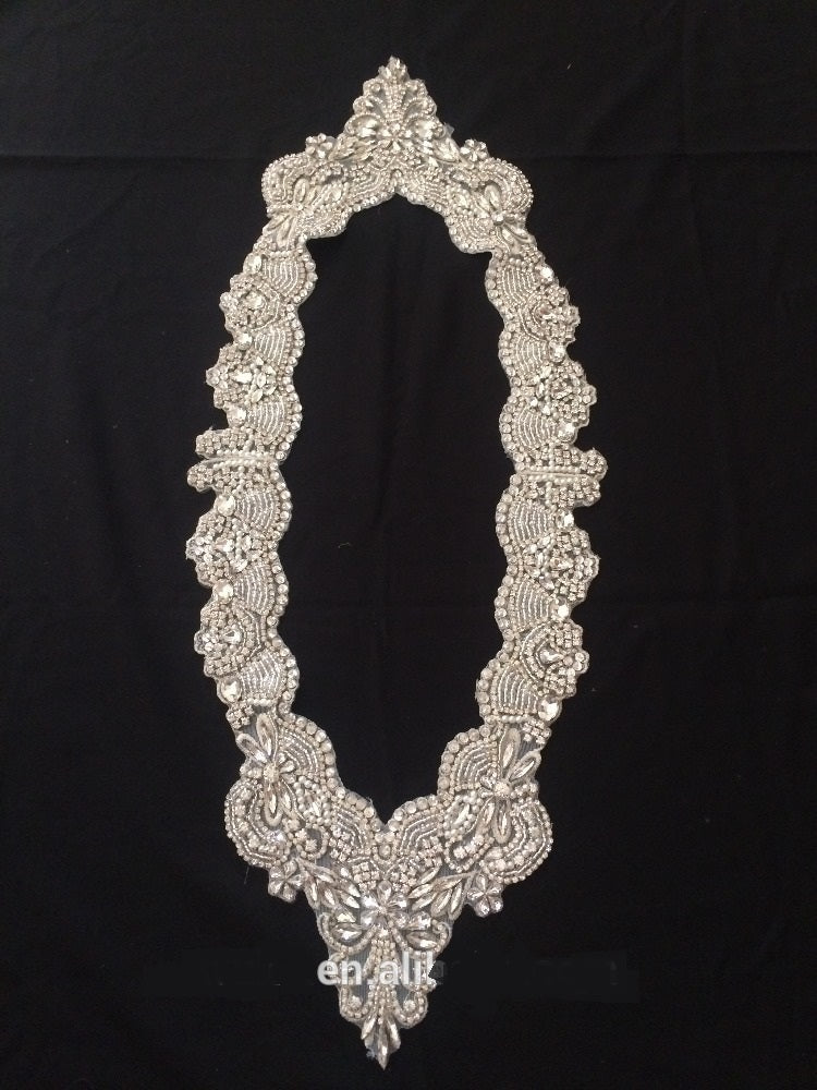 Round Bridal Collar with Handmade Diamonds and Rhinestones