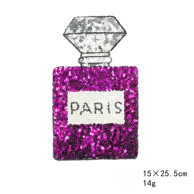 Perfume Bottle Sequins Embroidery Cloth Back Glue Patch