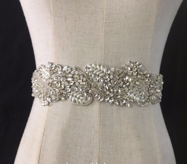 Leaf-shaped Hand-beaded Rhinestone Beijiao Belt Girdle