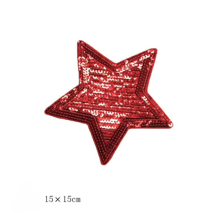 Sequin Pentastar Cloth Large Back Glue Patch