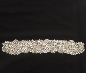 Silver Bridal Beaded Rhinestone Girdle Belt Adhesive Applique