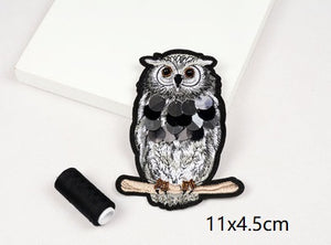 Big Eyed Owl Patch Bead Embroidery Patch