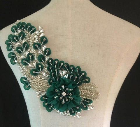 Green Stitched Bead and Rhinestone Applique